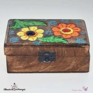 Caja de madera pintada a mano almacén de luciérnagas