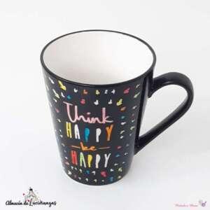 Taza para desayuno color negro «Think Happy be Happy»